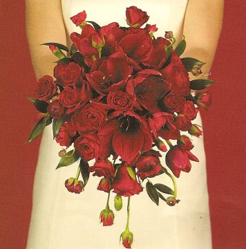 christmas wedding bouquet with red roses