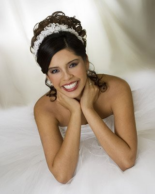 black bride hairstyles with veil. curly updos lack bridesmaid