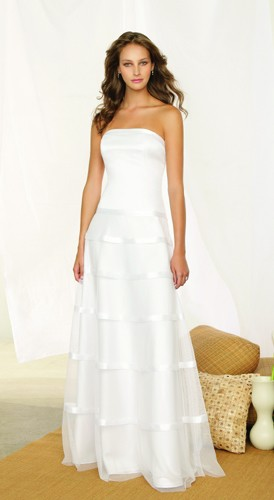Strapless Long White Beach Wedding Dress