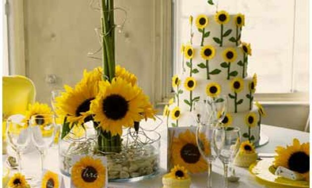 White Wedding Cake Adorned With Sunflowers