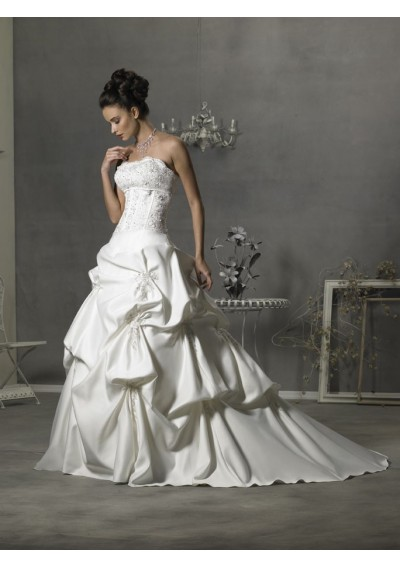 asymmetrical waistline wedding dress