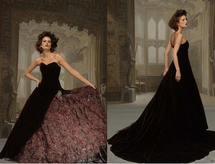 black velvet wedding dress