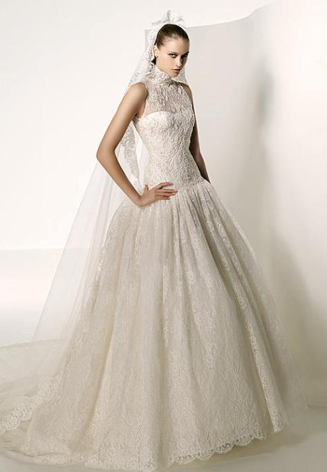embroidered silver tulle wedding dress