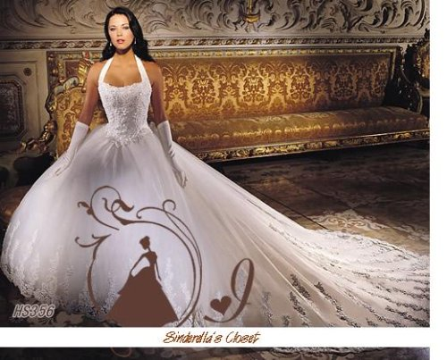 embroidered wedding dress with royal or monarch train