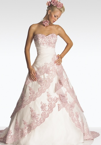 pink wedding dress with sequins