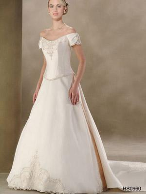 silver wedding dress with panel train