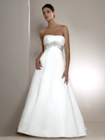 sleeveless long train wedding dress with empire waistline