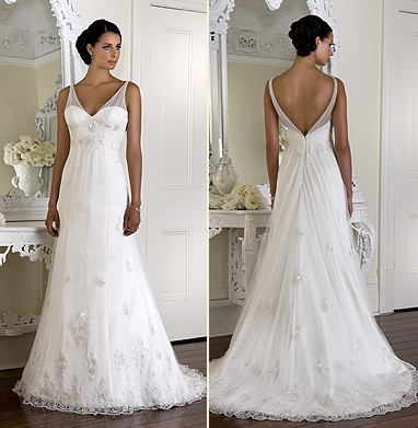 wedding dress with overlay bodice