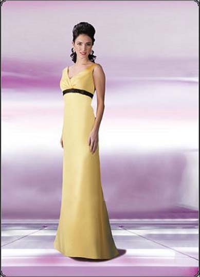 Da Vinci v-neck yellow bridesmaid gowns