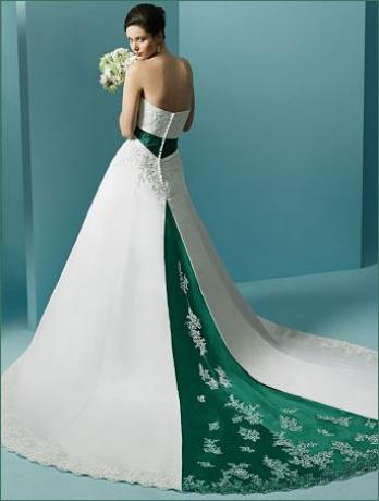 green white strapless wedding dress with a chapel train