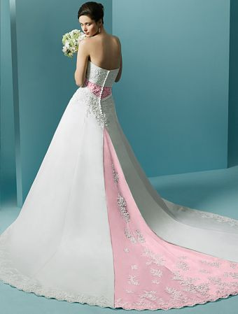 pink white strapless wedding dress with a chapel train
