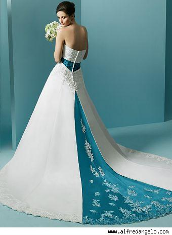 white blue strapless wedding dress with a chapel train
