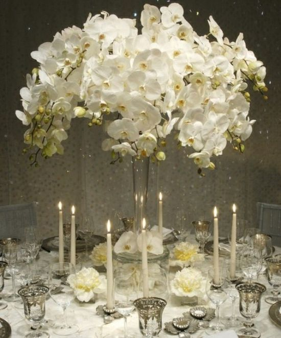 A White Orchid Wedding Centerpiece In A Tall Vase