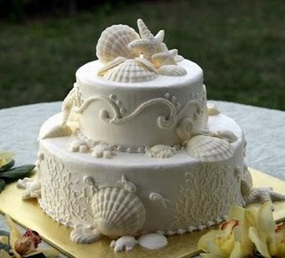 white beach wedding cakes