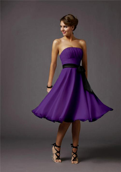 short strapless purple bridesmaid dress
