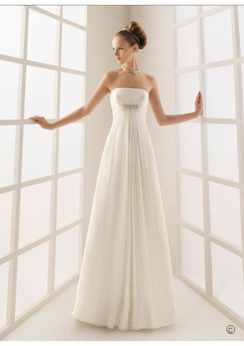 strapless chiffon wedding dresses