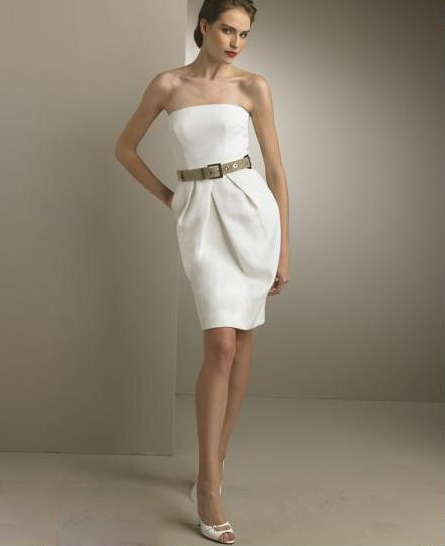 casual strapless short wedding dress