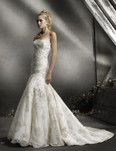 embroidered mermaid style wedding dress
