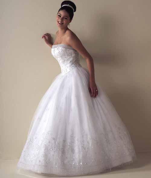 satin strapless ball gown wedding dress