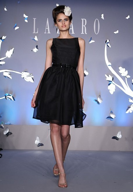 2012 lazaro black bridesmaid dress
