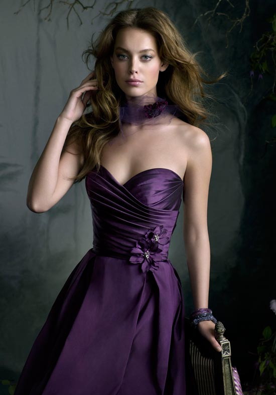 lazaro purple bridesmaid dress
