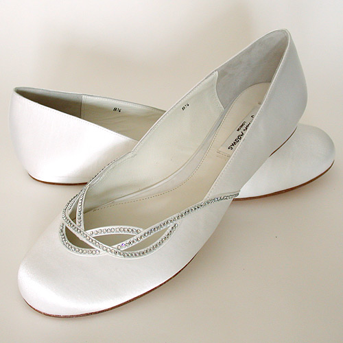 white flat bridesmaid shoes