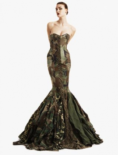 mermaid camouflage wedding dress