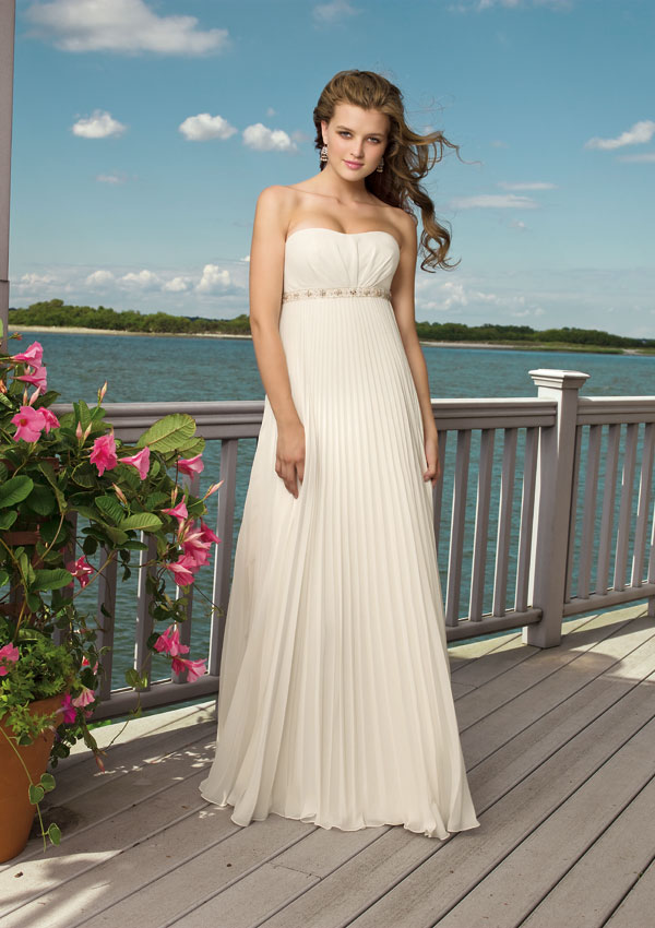 white strapless flowing beach wedding dress