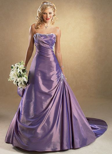 purple colored wedding dress
