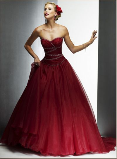 strapless red colored wedding dress