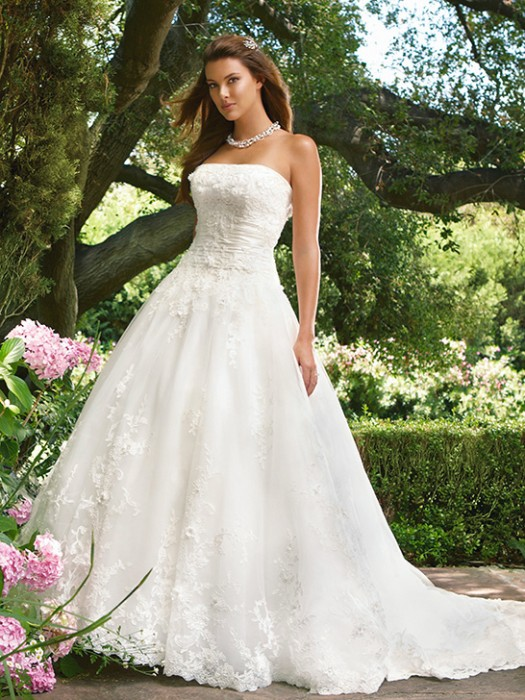 strapless white garden wedding dresses