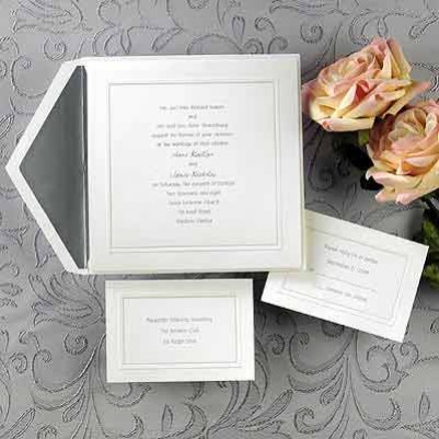 classic white wedding invitation cards