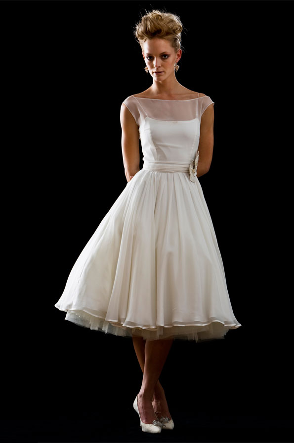 Tea Length Ivory Wedding Dresses Sang Maestro