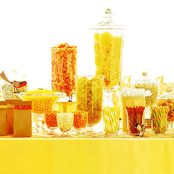 yellow wedding candy buffet