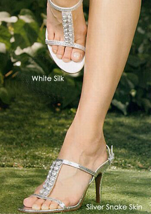 white silk wedding shoes