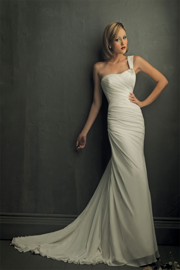 chiffon one shoulder wedding dress