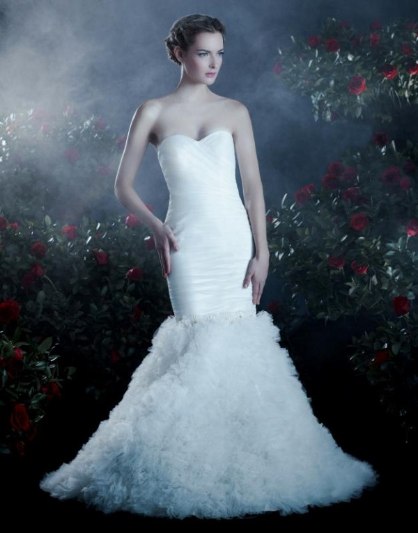 mermaid tulle white wedding dress