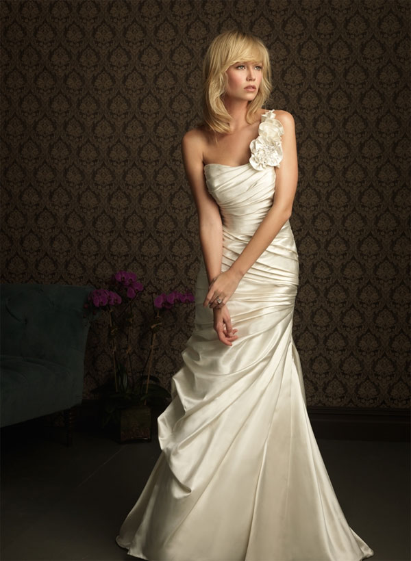 one shoulder wedding dress with Swarovski crystals