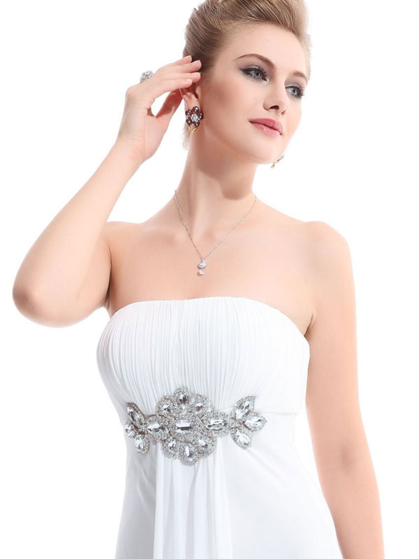 strapless empire chiffon white bridesmaid dress