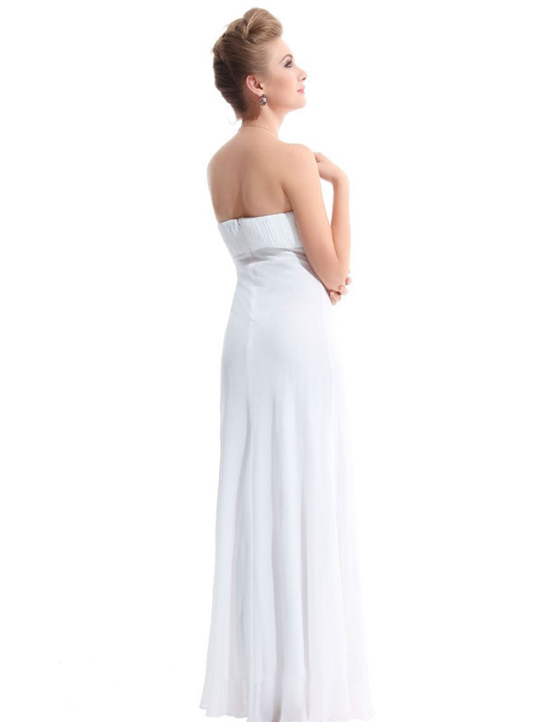 empire chiffon bridesmaid dress in white