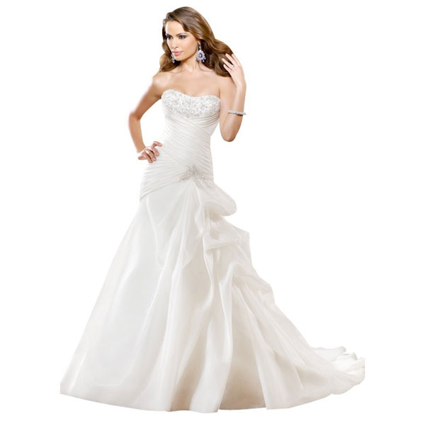 simple strapless white wedding dress sang maestro