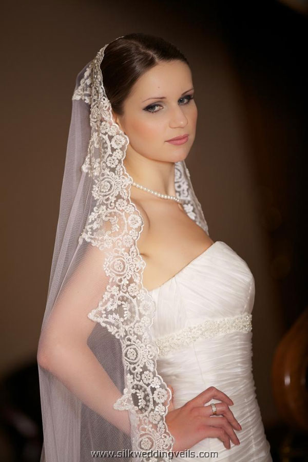 embroidered long bridal veil
