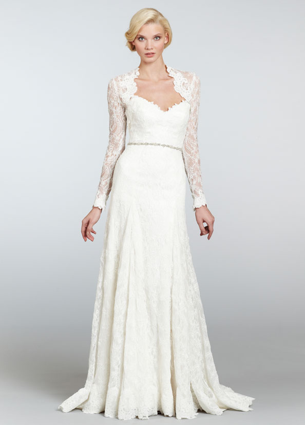Ivory strapless Chantilly lace A-line bridal gown