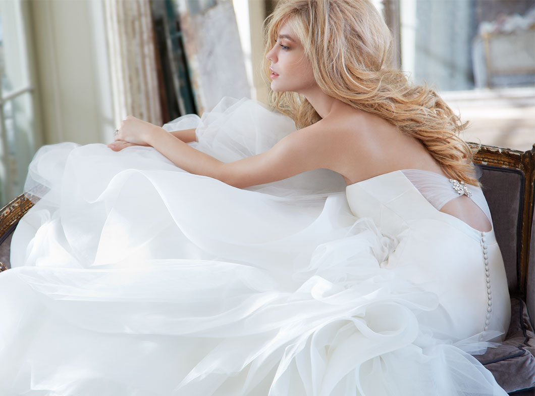 ivory strapless bridal gown with silk