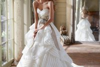 ivory striped organza strapless bridal ball gown