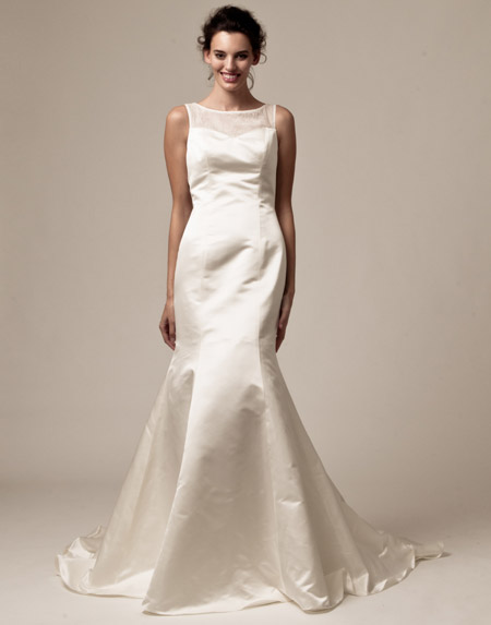 palazzo trumpet satin bridal dress 2013