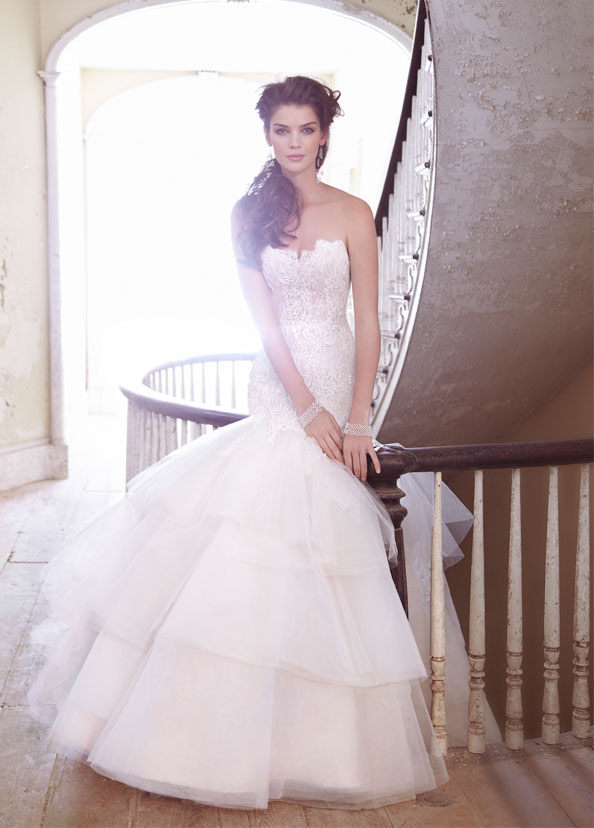 jim hjelm ivory champagne charmeuse tulle bridal gown