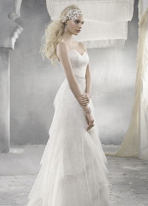 alvina valenta ivory lace bridal gown with sweetheart neckline