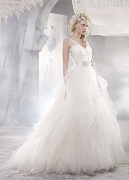 alvina valenta tulle bridal gown with strapless neckline