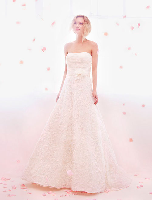 alita graham strapless lace wedding dress